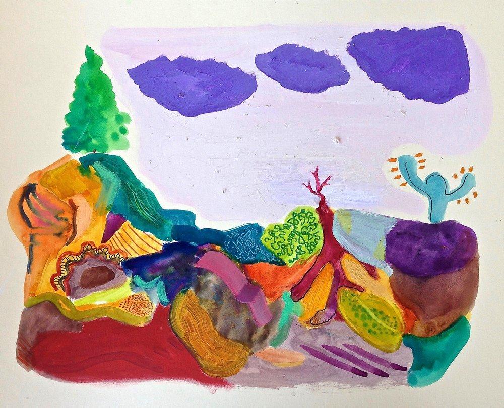 """""""la maleza III"""" 20""""x16"""" oil, watercolor, marker on paperboard, 2017"""
