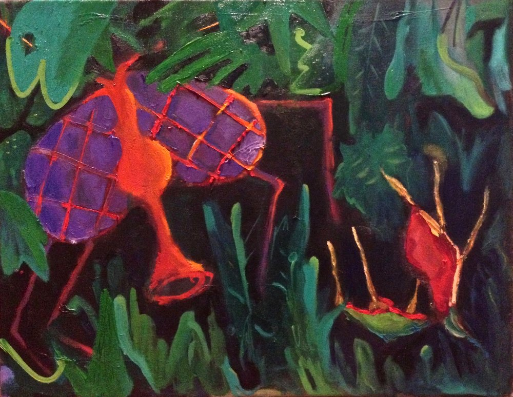 """the hungry venus flytrap"" 27""x21"" oil on canvas, 2017  $300"