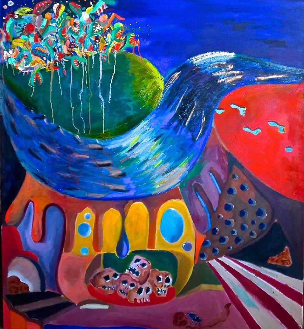 """""""El cruce"""" 57""""x52"""" oil on canvas, 2016"""
