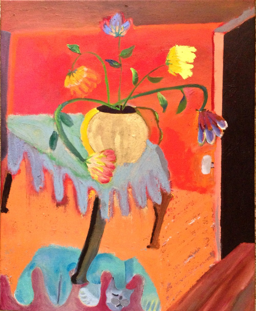 """""""Flowers on a table"""" 31""""x25"""" oil on canvas, 2017"""