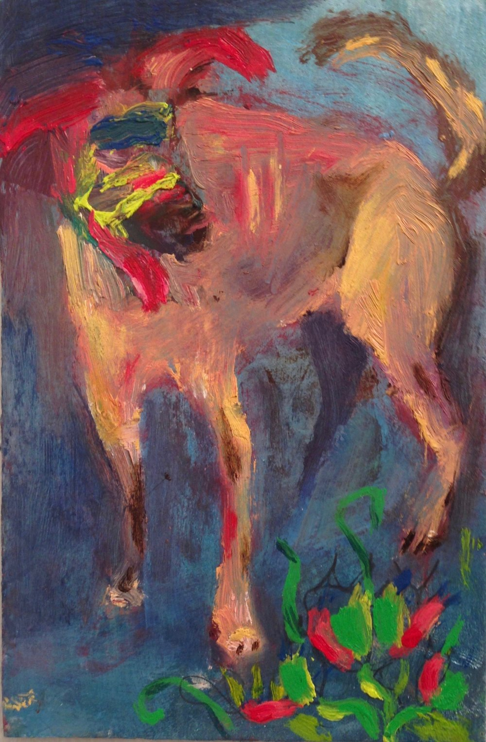 """""""oso"""" 6""""x4"""" oil on paperboard, 2017"""