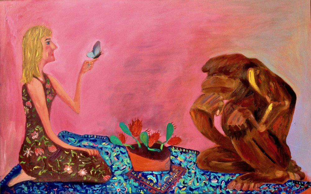 """Lisa and the Monkey"" oil on canvas, 2018 40x30 inches  (SOLD)"