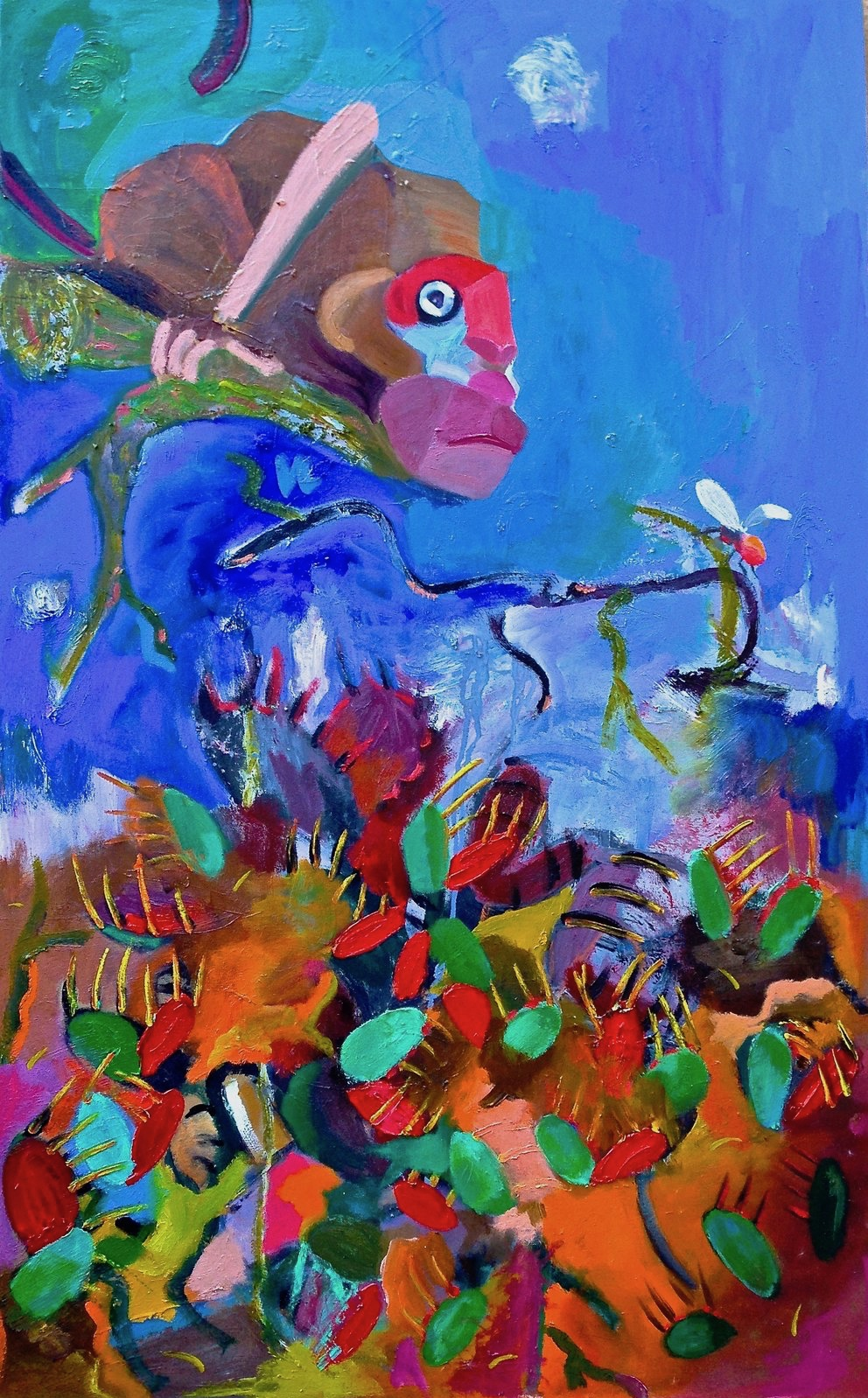 """""""Monkey and the venus flytraps"""" 48""""x30"""" oil on canvas, 2016"""