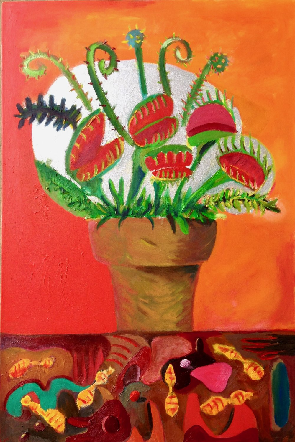 """Venus flytraps and the subterranean life"" 36""x24"" Oil on canvas  $500"