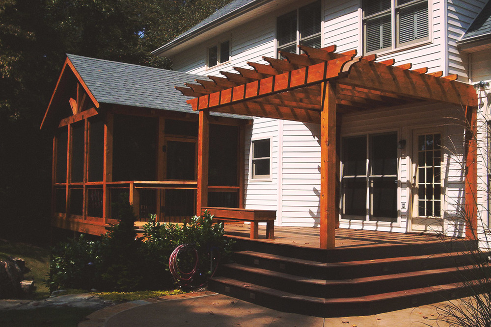 attached pergola + screened porch