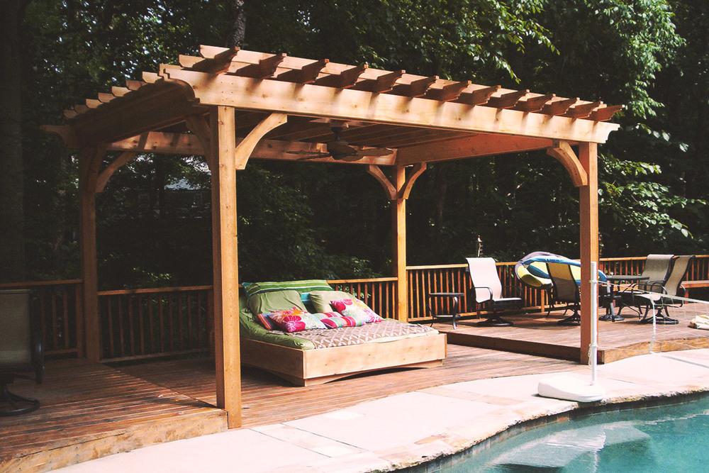 poolside pergola + custom bed
