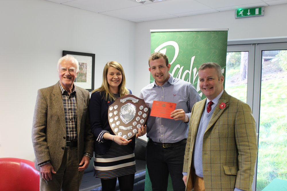 Owen Davies, Presteigne YFC with judges Ian Blair, Fay Thomas & Chris Davies MP
