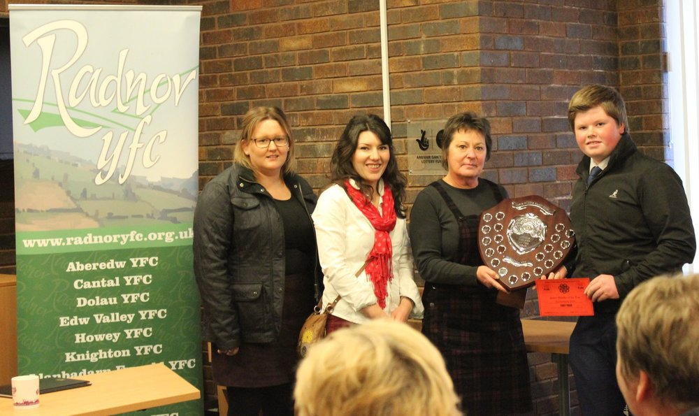 Mark Nixon, Edw Valley YFC with judges Vicky Hope, Katie Morris & Elaine Blair