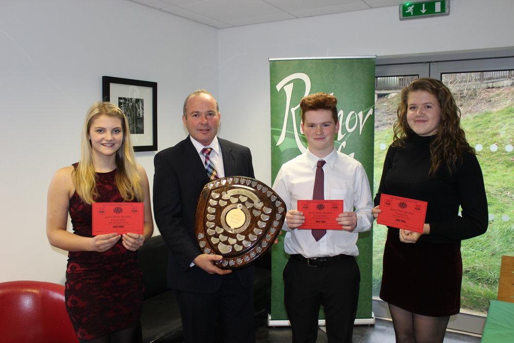 Junior Public Speaking Winners Annie Fairclough, Rhys Bennett & Gemma Price, Llanbadarn Fynydd YFC with Judge Mr Russell Williams.