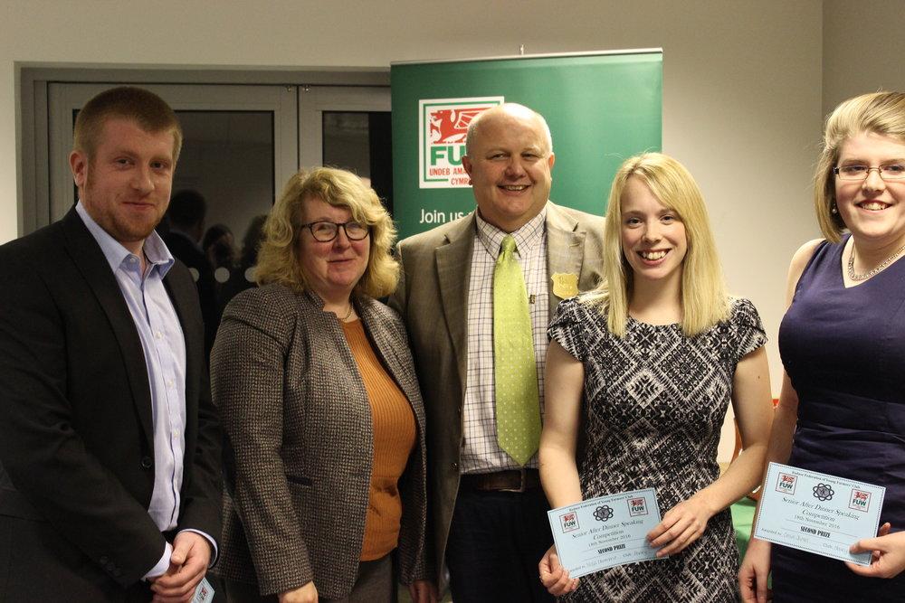 2nd Place in After Dinner Speaking John James, Nerys Hammond, Clare James Howey YFC with judges Stuart & Karen Anthony.