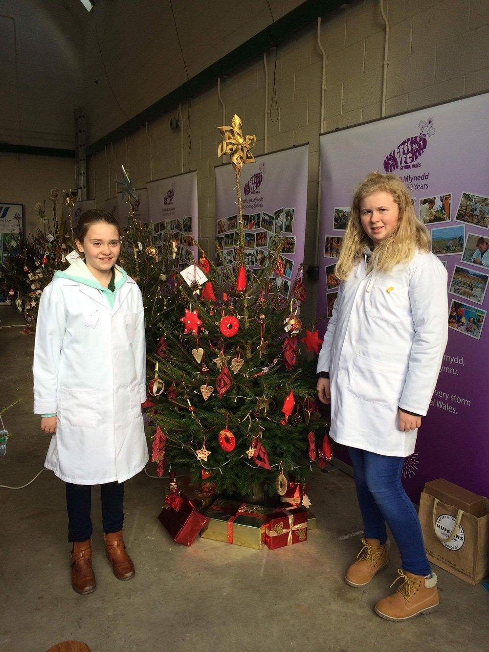 Katie Jones & Lauren Kinsey Owen, Aberedw YFC with their decorated Christmas tree.