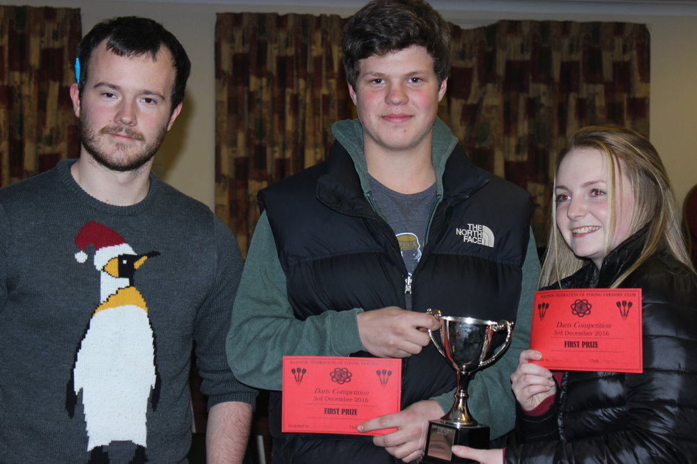 Mixed Doubles Winners Aaron Bagley & Rebecca Lloyd, Rhosgoch YFC with S&F Chairman Tom Simmons