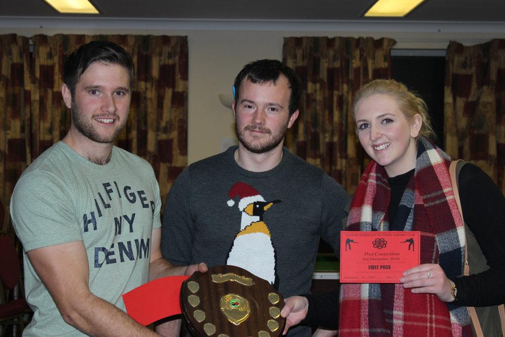 Doubles Winners William Rogers & Elinor Davies, Presteigne YFC with S&F Chairman Tom Simmons