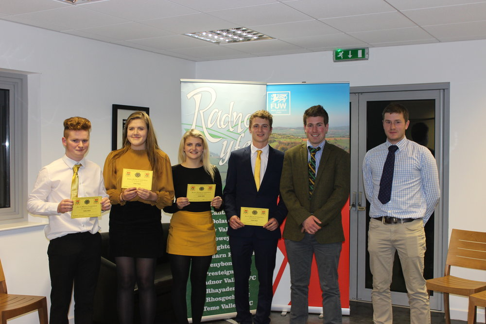 Rhys Bennett, Gemma Price, Annie Fairclough & Hywel Watson with judges Joe Willams & Mark Hanson gaining 3rd place in the Just A Minute competition.