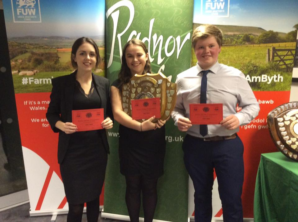 Ffion Price, Amy Hammonds & Mark Nixon, Edw Valley YFC with the Senior Debating Shield.