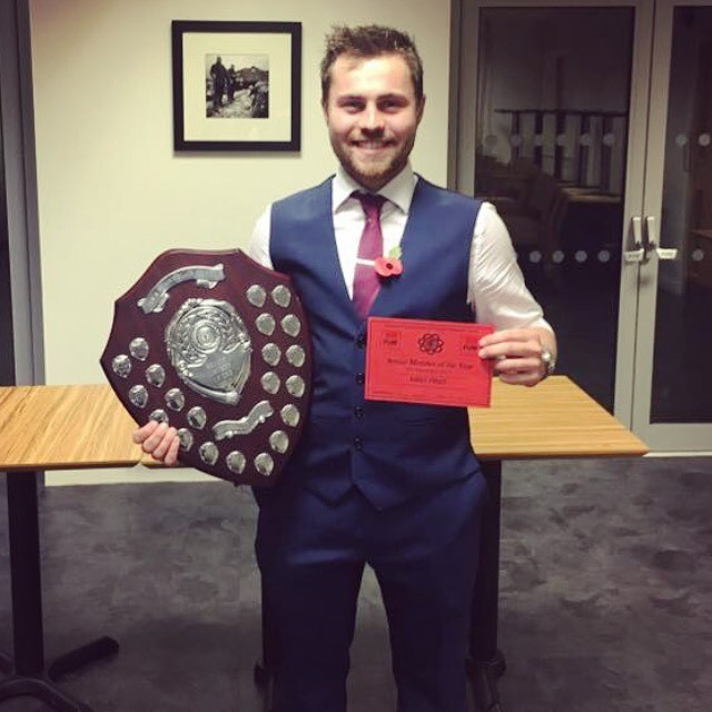 James Poulton, Rhosgoch YFC with the Senior Member of the Year shield.