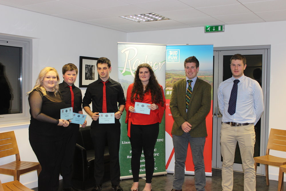 Rebecca Williams, Mark Nixon, William Davies & Lou Lou Mitchell, Edw Valley YFC with judges Joe Williams & Mark Hanson coming 2nd in the Just A Minute competition.