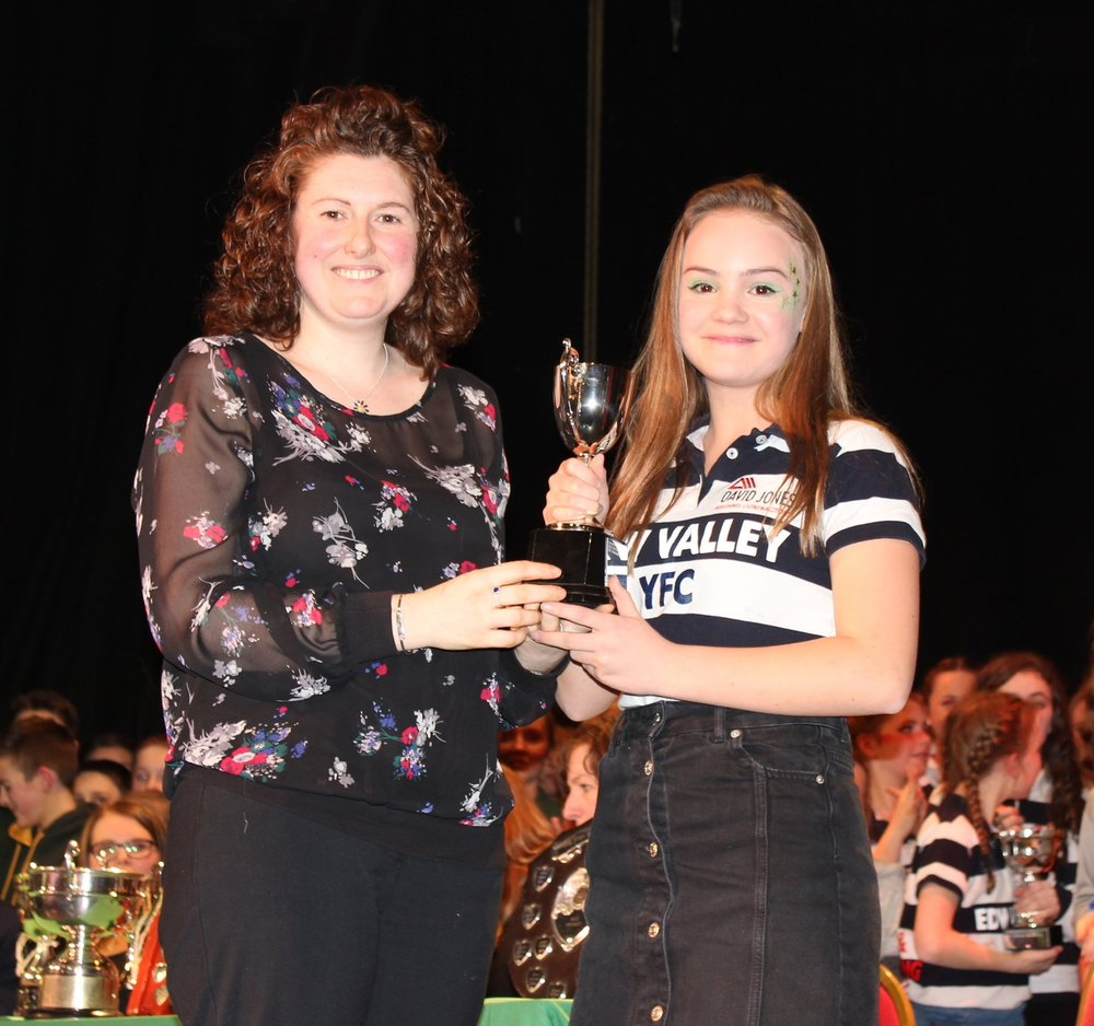 Katie Hammonds being presented the 'Evie Doman Cup' for Best Choreography by Avril Hardwick, Barclays