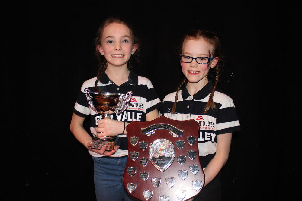 Evie Hammonds & Hali Rae Morris with their trophies 'Barclays Bank Shield' for the best Time to Shine & 'Clair & Toby Powell Award' for best individuals in the Competition.