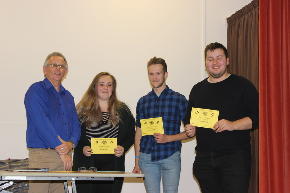 Quiz Master Michael Powell with 3rd placed team Edw Valley YFC.