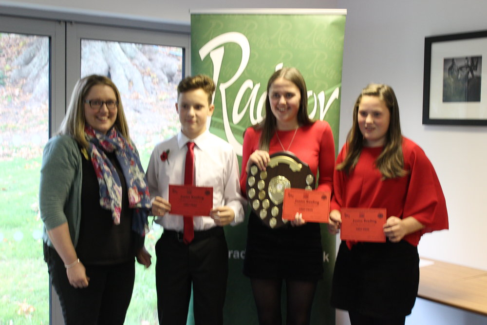 Winners of the Junior Reading Competition, Rhayader YFC with Judge Emily Bevan.