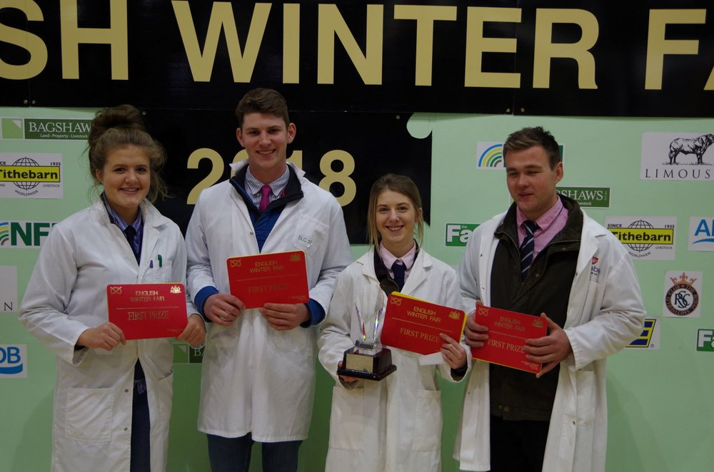 The carcass team gaining 1st place overall.. Gemma Price, Will Lewis, Elizabeth Swancott & George Morgan.