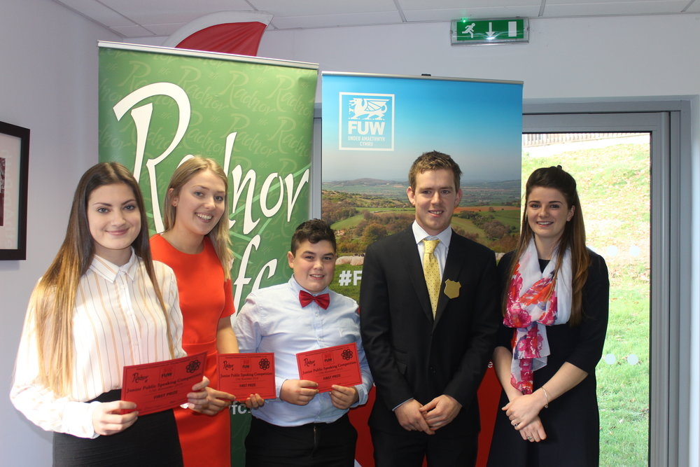 Rhian Hughes, Joanna Thomas & William Lewis gaining first place in the Junior Public Speaking with judges Owen Morris & Lucy Bright.