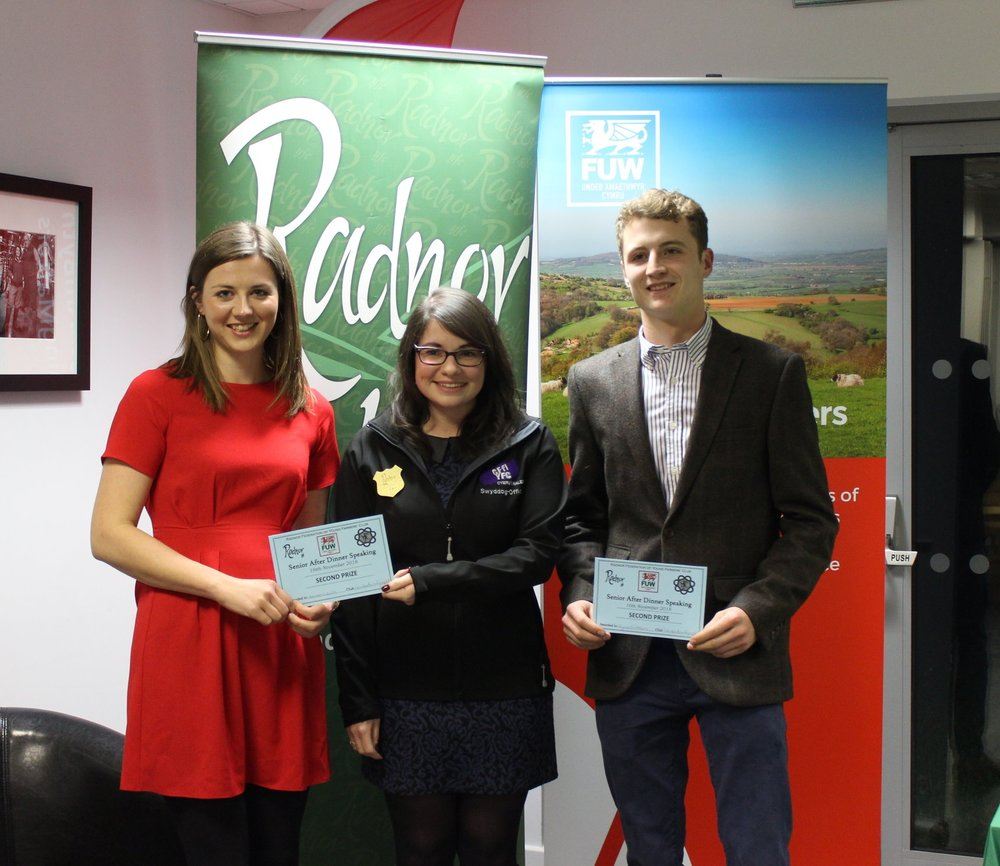 Hannah Lewis & Hywel Watson gaining 2nd place in the Senior After Dinner Speaking with judge Katie Davies.