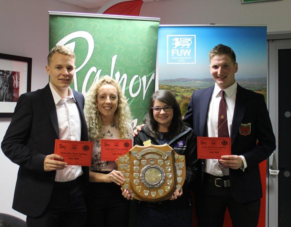 Elliot Morris, Bethan Watson & Robbie Savage, Radnor Valley YFC being presented with the Senior After Dinner Speaking shield.