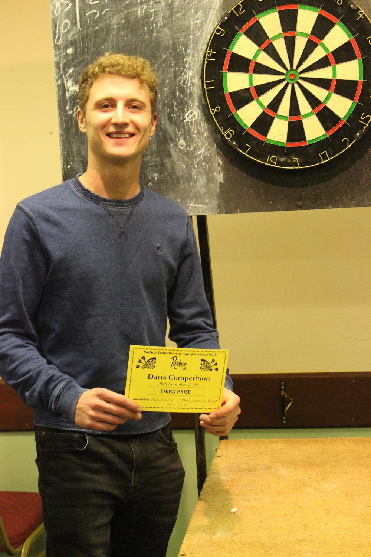 Hywel Watson, Llanbadarn Fynydd YFC, 3rd in the Mens Singles Darts Competition.