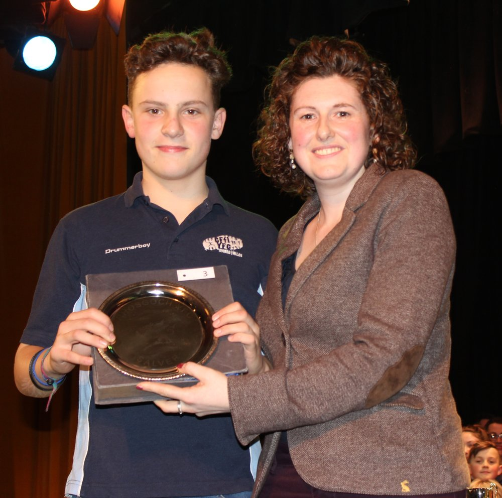 Eifion Davies, Rhayader YFC with Barclays representative Avril Hardwick - Rhosgoch YFC Salva for Best Individual in the Time To Shine Competition.