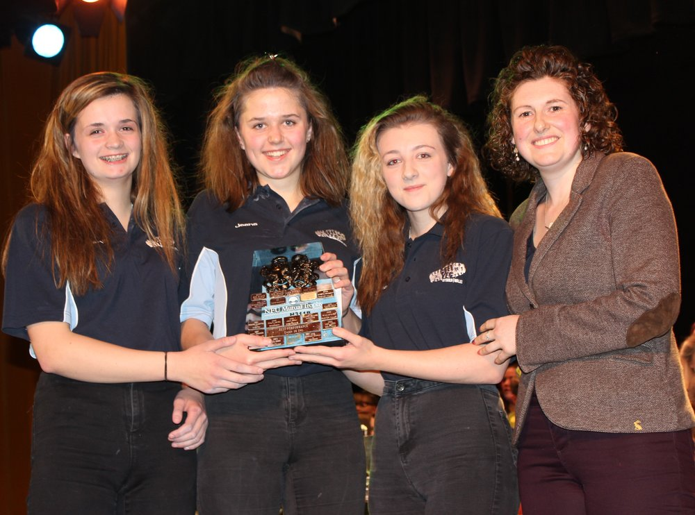 Jeana Jones, Ellie Hughes & Cerys Mills, Rhayader YFC - NFU Shield for Best Performance 16 years of age & under.