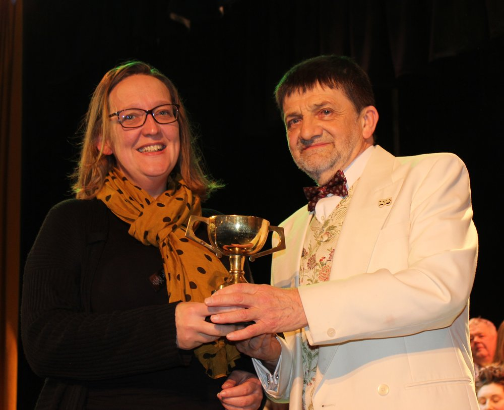 Jenna Smith, Howey YFC with Entertainment Adjudicator Mr Ian Sarginson - Tom Hooson Cup for Highest Place Smallest Club.