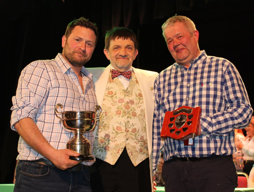 James Powell & Gwyn Price, Llanbadarn Fynydd YFC - Martin Pugh MBE Memorial Shield for Best Producer & John & Vivienne Hughes Rose Bowl Trophy for 1st Place.