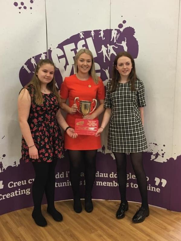 Emily Davies, Joanna Thomas & Becky Duggan winning the Junior Public Speaking competition.