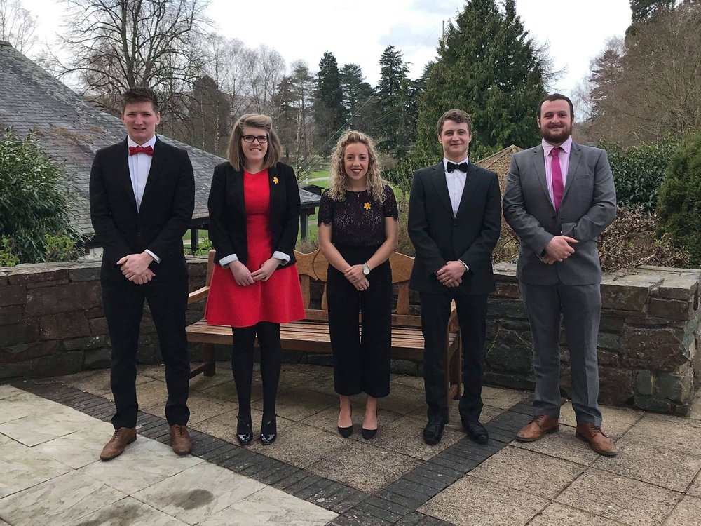 Robbie Savage, Clare James, Bethan Watson, Hywel Watson & Ted Davies in the Senior After Speaking Competition.
