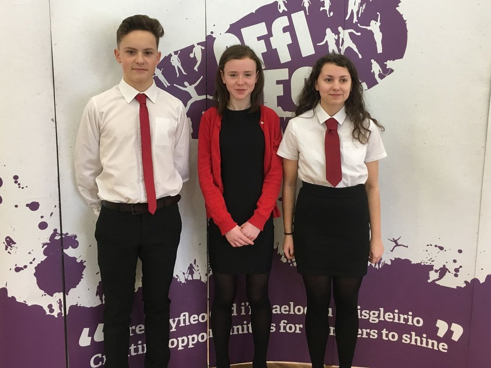 Eifion Davies, Cerys Powell & Daisy Tyler in the Junior Reading competition.