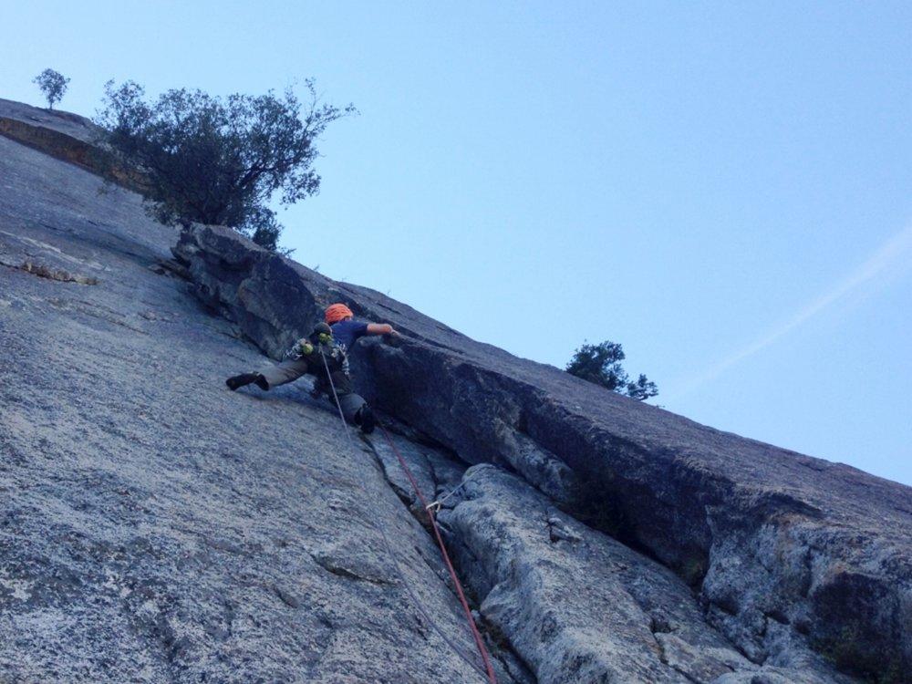 Climbing a granite corner