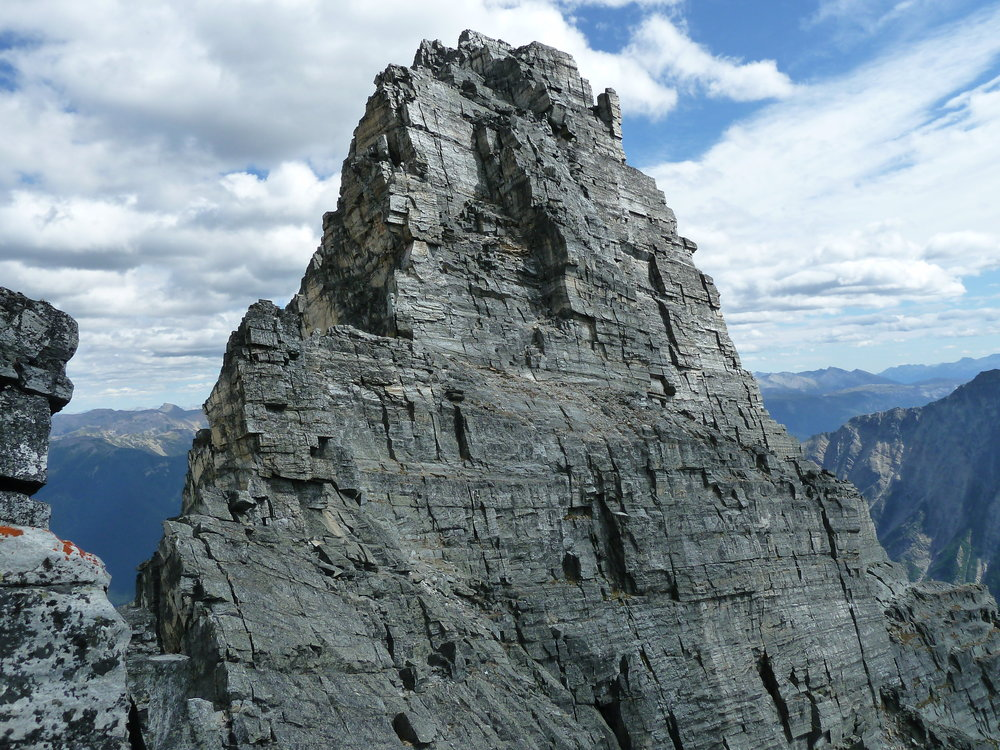 The summit block of Mt. Tupper. High quality quartzite high in the Selkirks.
