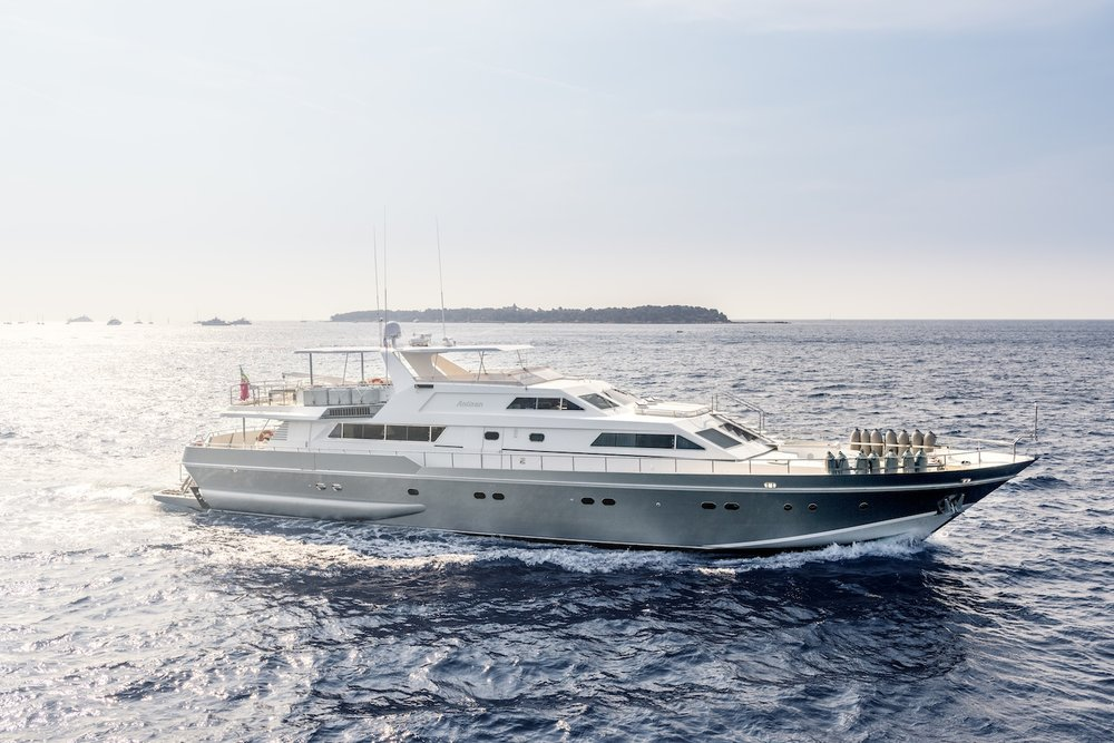 ANTISAN GUESTS: 12 | CABINS: 9 | CREW: 7  LOA: 33.00m | SPEED: 25kn | PRICE: €49,000 p/w