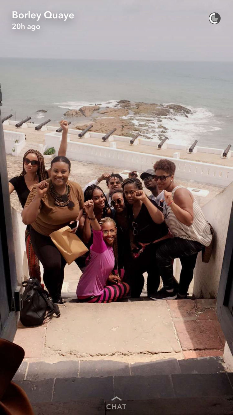 After we toured the whole slave castle. Fist up in the air. Proud to be African