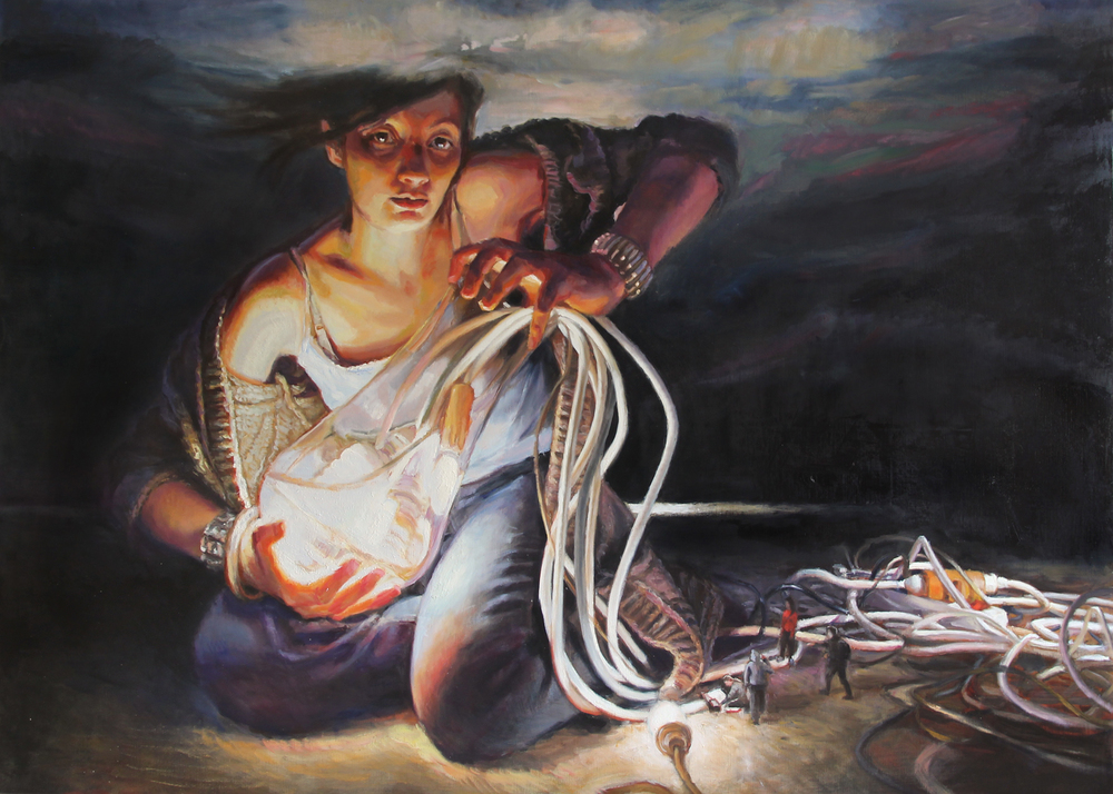 'Expecting a miracle' 150x210cm, oil on linen