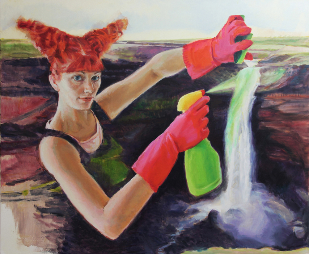 'She spent the entire day cleaning the bathtub' 140x170 cm, oil on linen