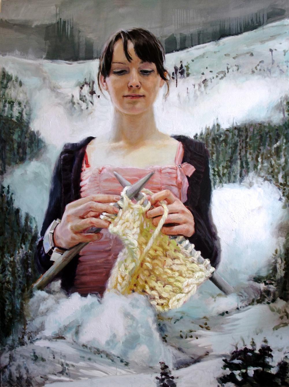 'Avalanche Knitter' 200x150 cm, oil on linen