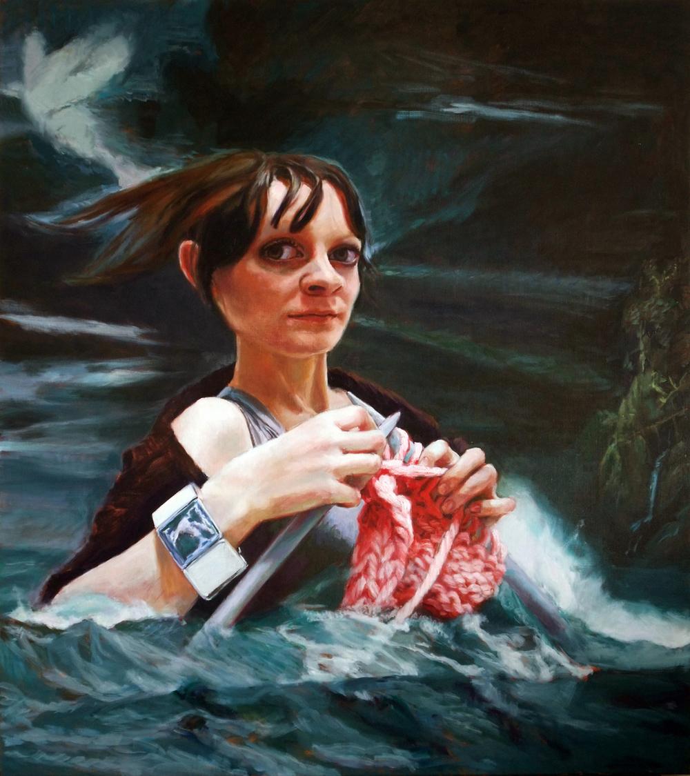 'Ocean Knitter' 180x160 cm, oil on linen (Collection David Roberts, London)