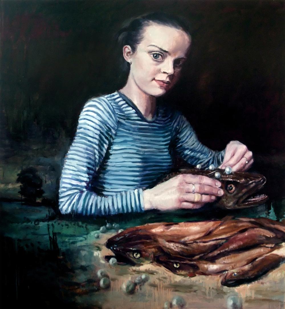 'She Fixed Her Gaze Against the Gloom' 195x180 cm, oil on linen