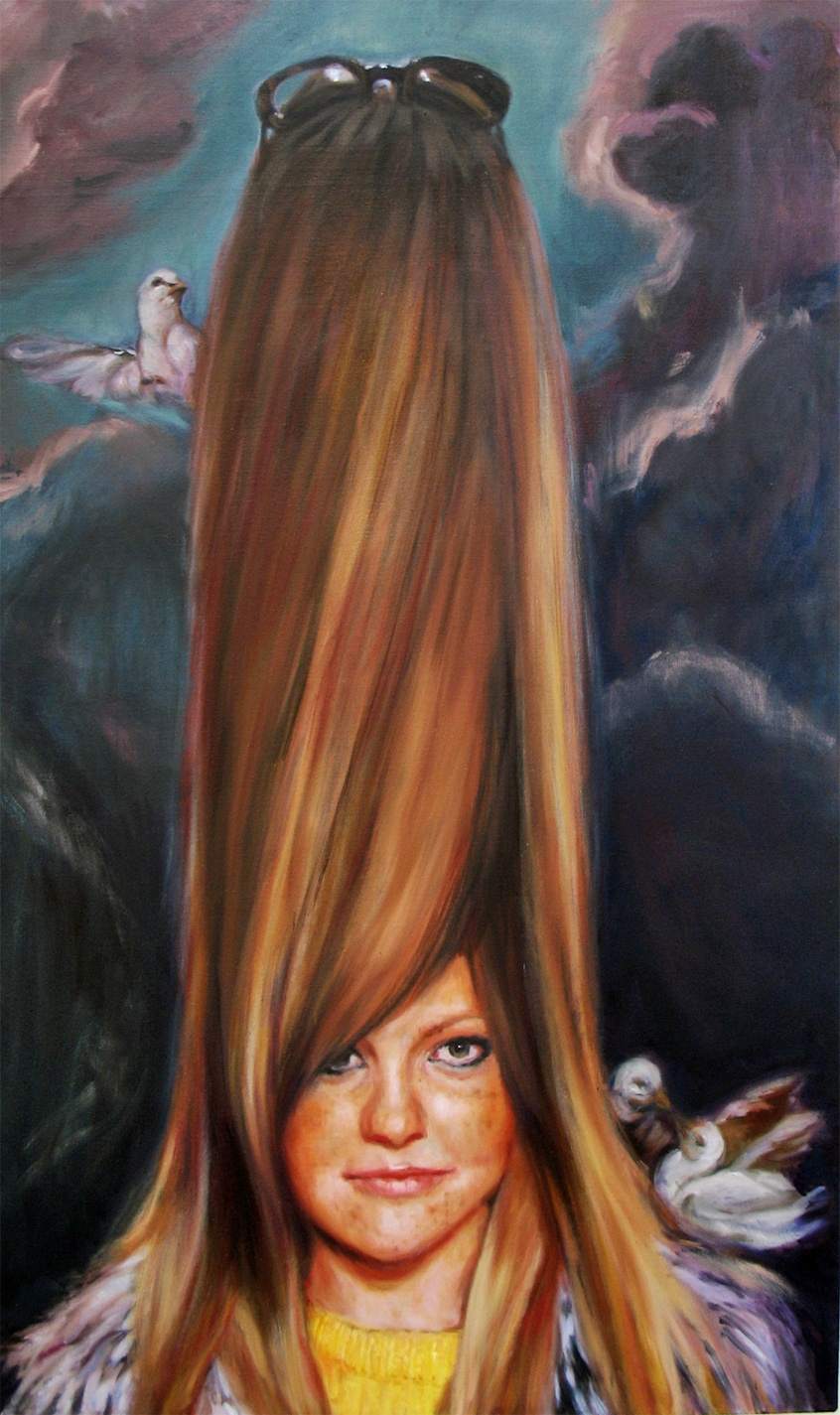 'Lisa has her head in the clouds' 160x195 cm, oil on linen