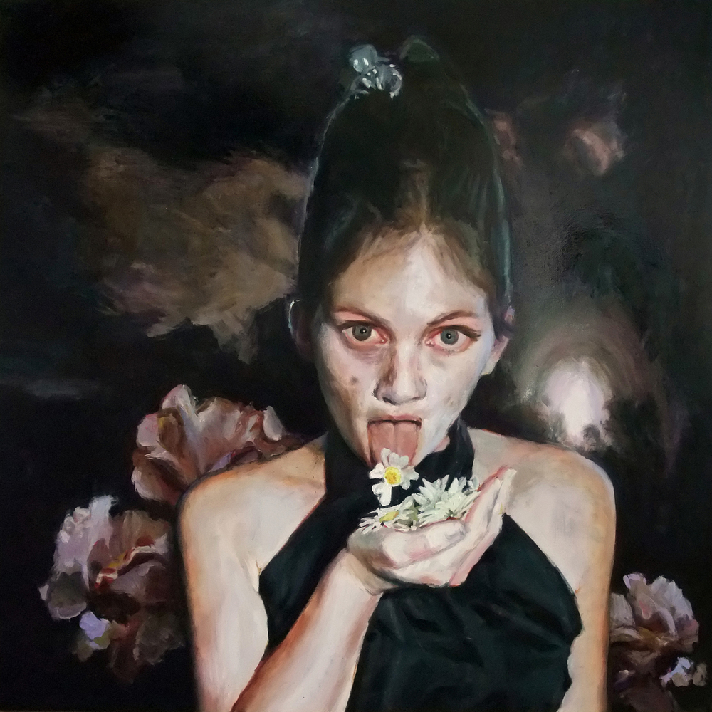 'Flower Eater' 120x120 cm, oil on canvas (collection David Roberts, London)
