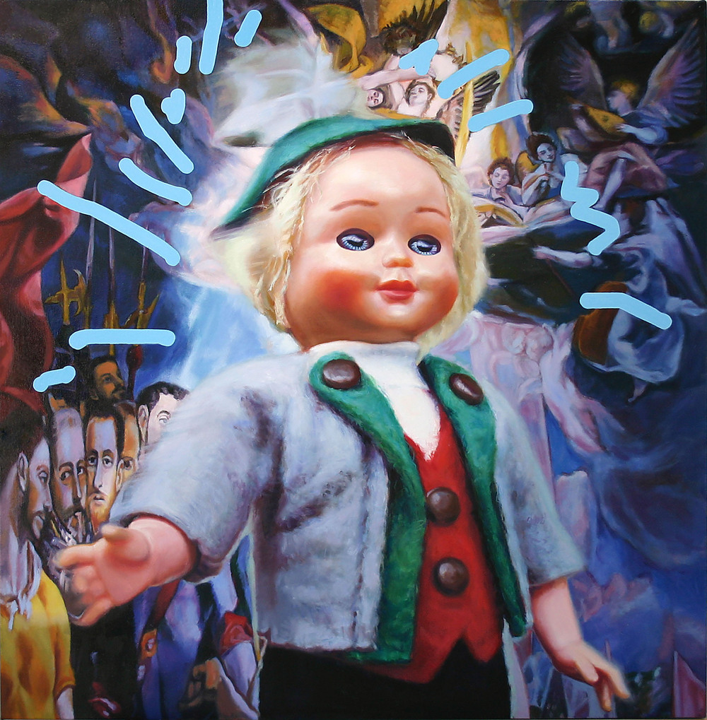 'Little Rolf (the centre of attention)' 122x122 cm, oil on linen