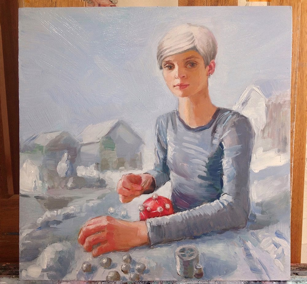 Work in progress for Cologne, 40x40 cm, oil on wood panel.